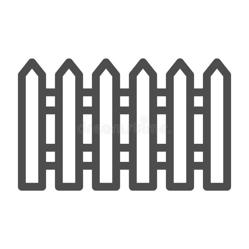 Linha de cerca ícone Jardim que cerca a ilustração do vetor isolada no branco Projeto do estilo do esboço da barreira, projetado  ilustração do vetor