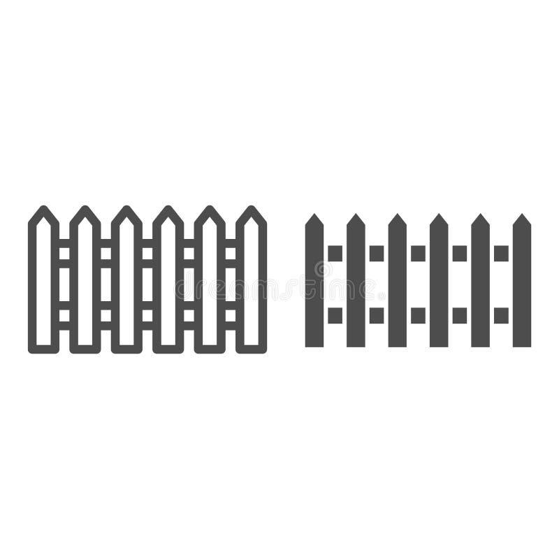 Linha de cerca e ícone do glyph Jardim que cerca a ilustração do vetor isolada no branco Projeto do estilo do esboço da barreira, ilustração do vetor