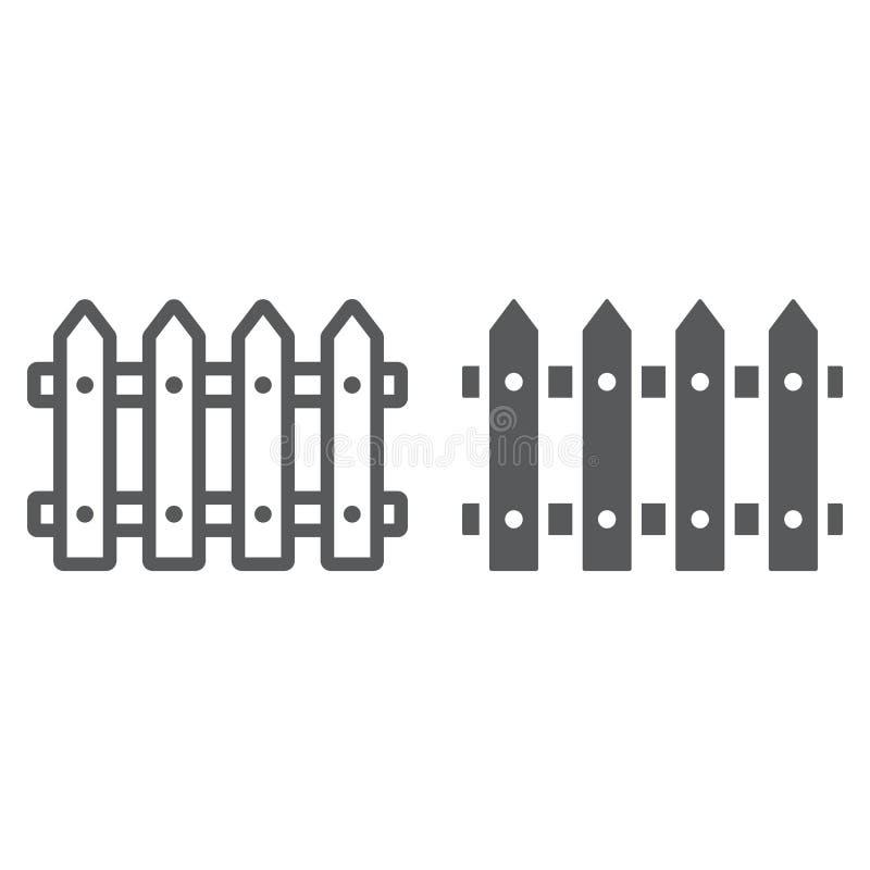 Linha de cerca e ícone do glyph, de madeira ilustração stock