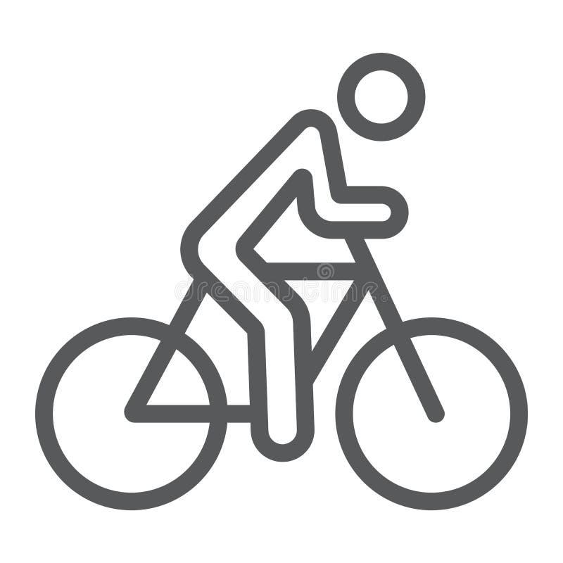 Linha de ciclagem ícone, esporte e bicicleta, homem no sinal da bicicleta, gráficos de vetor, um teste padrão linear em um fundo  ilustração royalty free
