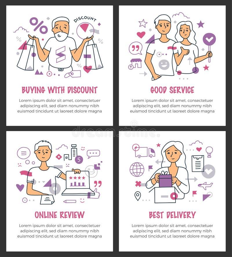 Linha de clientes feliz conceitos ilustração royalty free