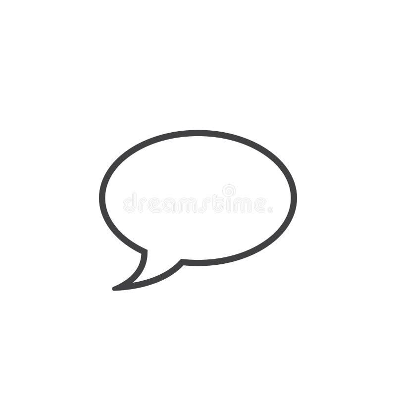 Linha de comentário ícone, illustratio do logotipo do esboço da bolha do discurso ilustração do vetor