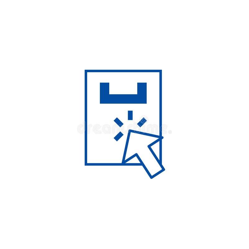 Linha de compra conceito do clique do ícone Símbolo liso de compra do vetor do clique, sinal, ilustração do esboço ilustração royalty free
