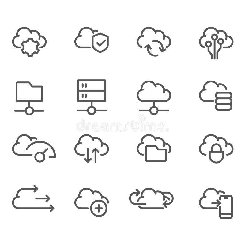 Linha de computação grupo da nuvem dos ícones - dados, transferência, armazenamento da nuvem ilustração stock