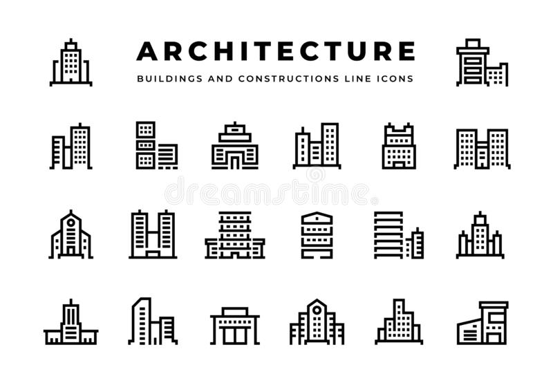 Linha de construção ícones Arquitetura da cidade com centros de negócios dos arranha-céus e hotéis e condomínios modernos dos esc ilustração royalty free
