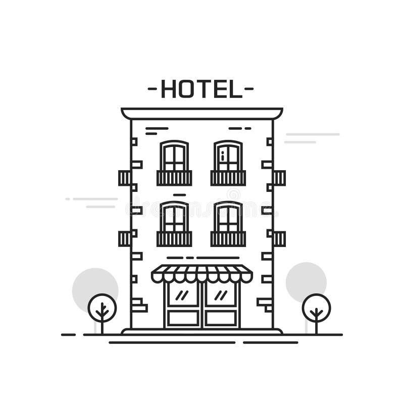 Linha de construção ilustração do hotel do vetor do estilo dos desenhos animados do esboço isolada ilustração do vetor