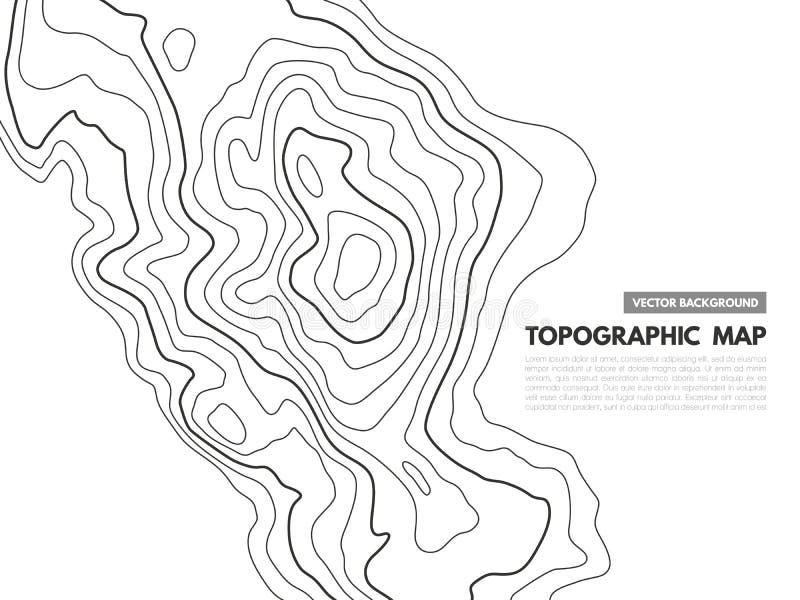 Linha de contorno mapa Esboço topográfico do relevo, fugas geográficas do terreno da grade do mapeamento de mundo da textura da c ilustração stock