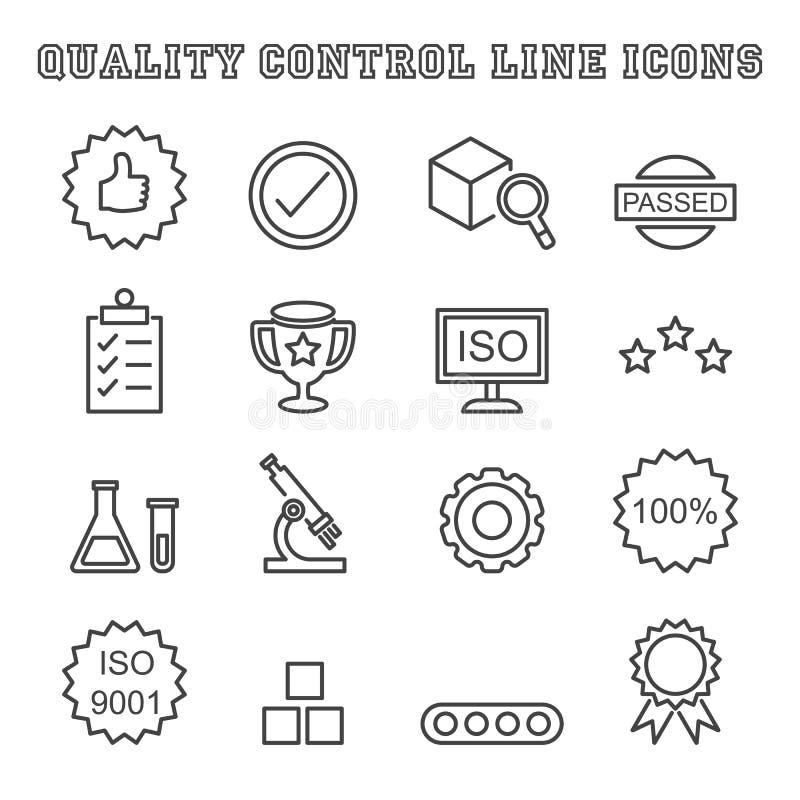Linha de controle ícones da qualidade ilustração stock