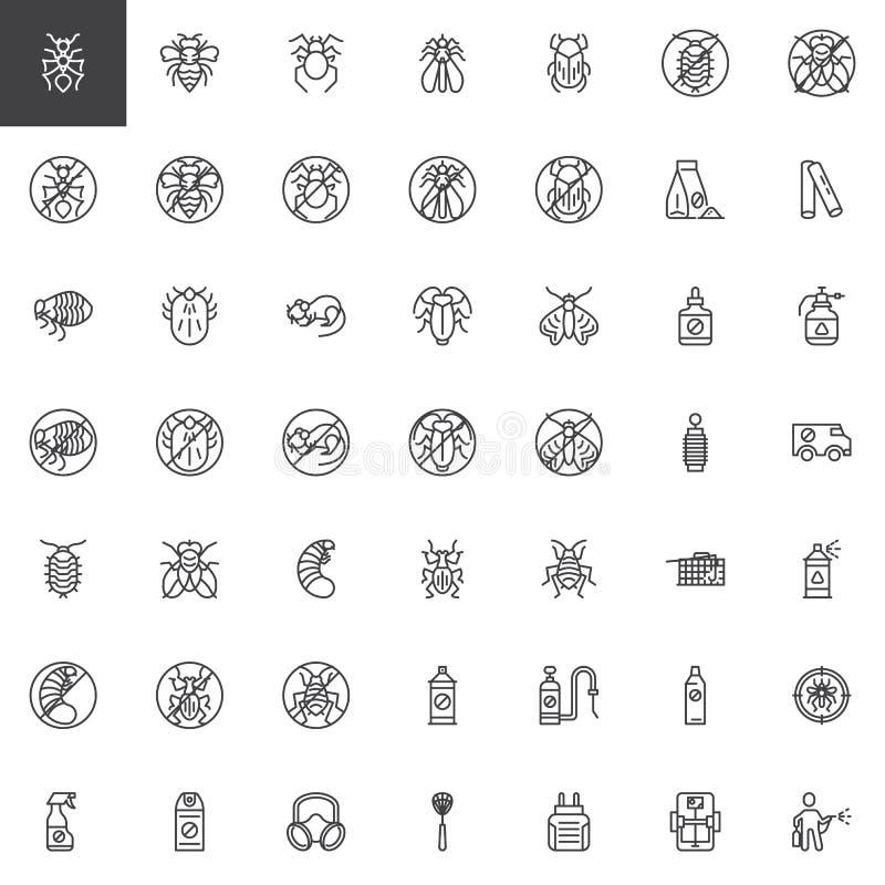 Linha de controlo de pragas grupo dos ícones ilustração do vetor