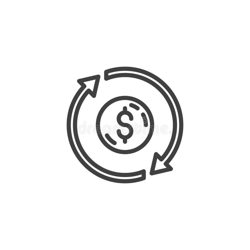 Linha de converso ícone do dinheiro ilustração stock