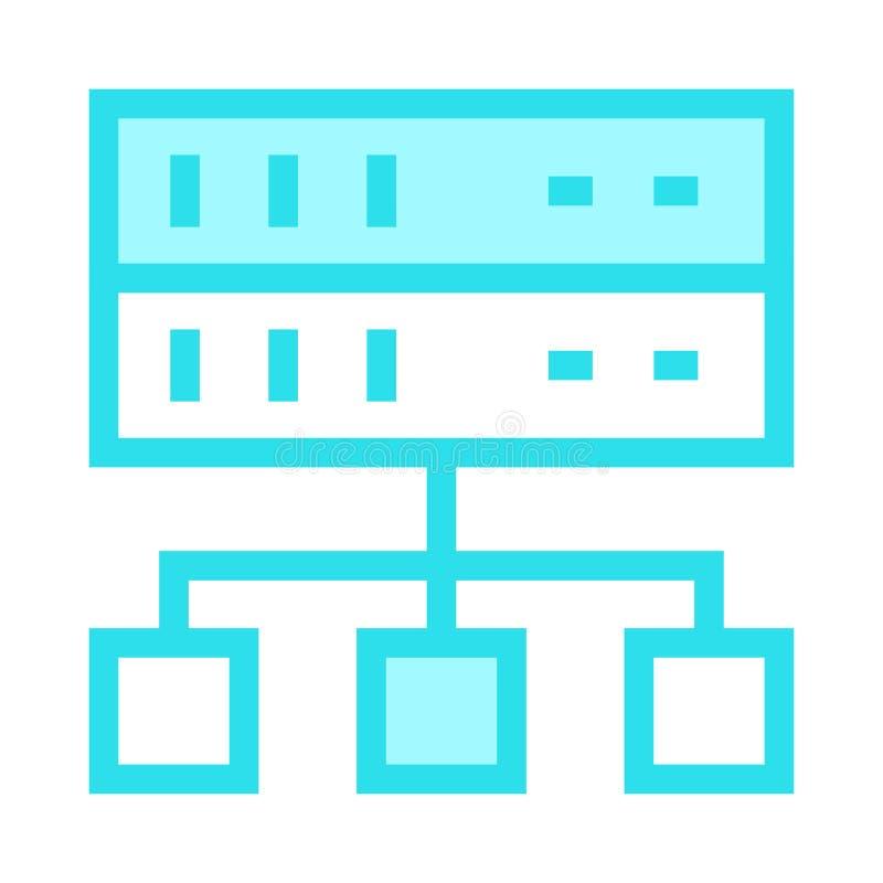 Linha de cor ícone da rede do servidor ilustração stock