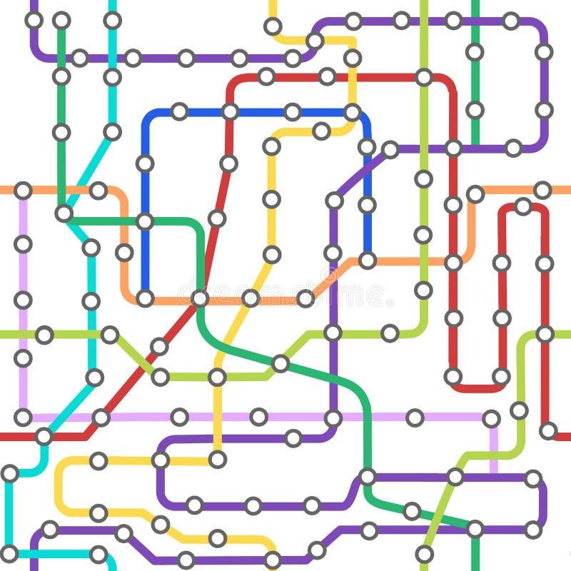 Linha de cor cartão do metro do esquema do fundo Vetor ilustração royalty free