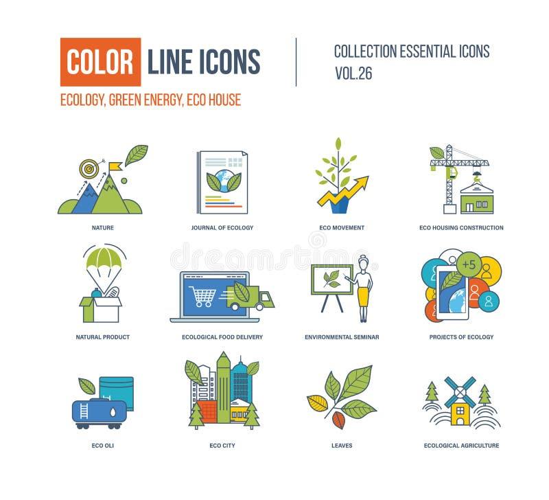 Linha de cor coleção dos ícones ilustração stock