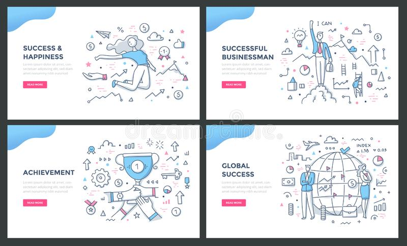 Linha de cor conceitos do sucesso ilustração royalty free