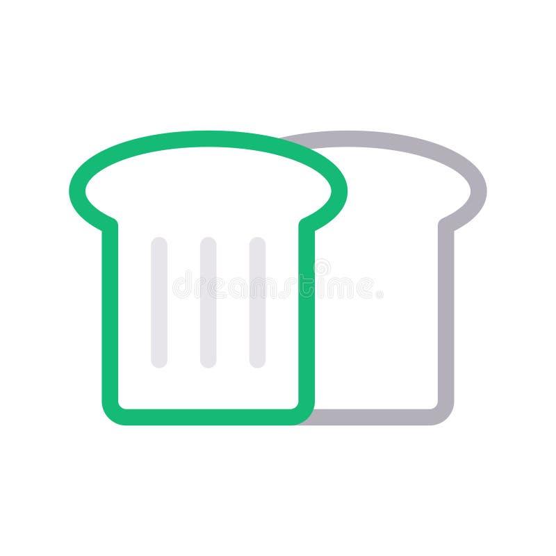 Linha de cor fina ícone da fatia do pão do vetor ilustração stock