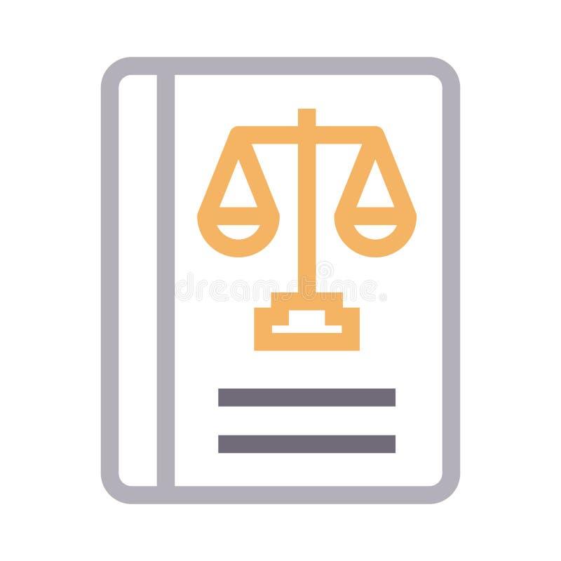 Linha de cor fina ícone do livro de lei do vetor ilustração stock