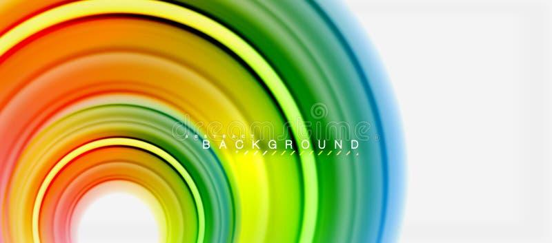 Linha de cor fluida fundo do arco-íris do sumário - o redemoinho e os círculos, cores líquidas torcidas projetam, mármore colorid ilustração do vetor