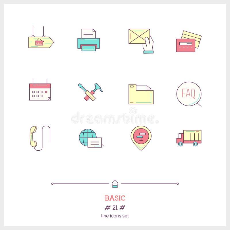 Linha de cor grupo do ícone de objetos e de elemen básicos, universais das ferramentas ilustração do vetor