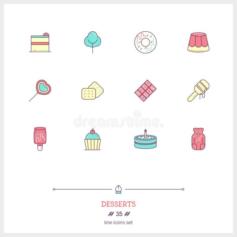 A linha de cor grupo do ícone dos doces sobremesas objeta Vec dos ícones do logotipo ilustração do vetor