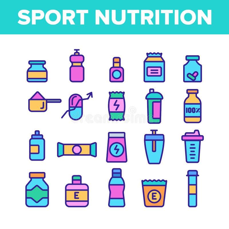 Linha de cor grupo do vetor da nutrição do esporte dos ícones ilustração stock