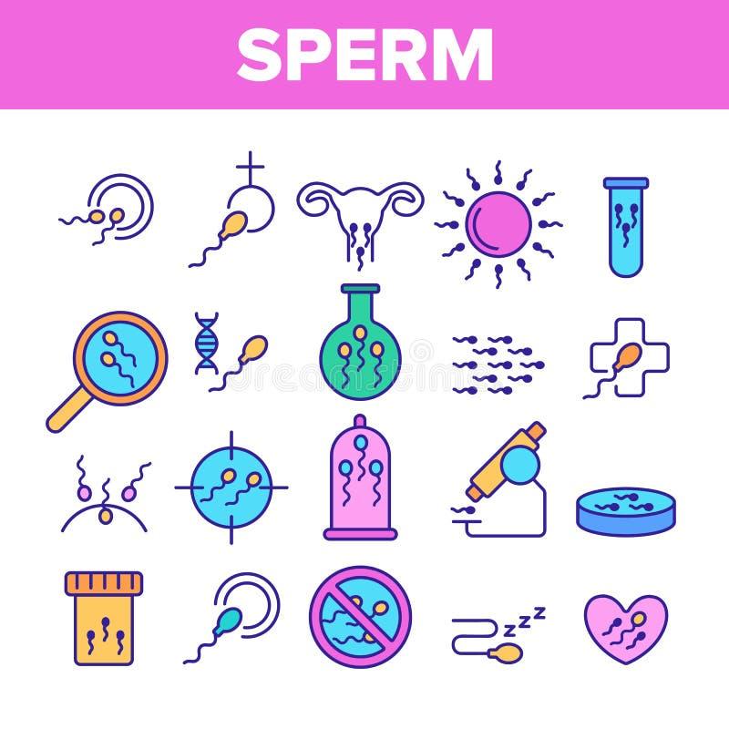 Linha de cor grupo do vetor das pilhas de esperma dos ícones ilustração royalty free