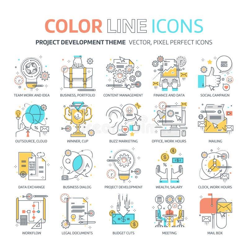 Linha de cor, ilustrações do conceito do desenvolvimento de projeto, ícones fotos de stock royalty free