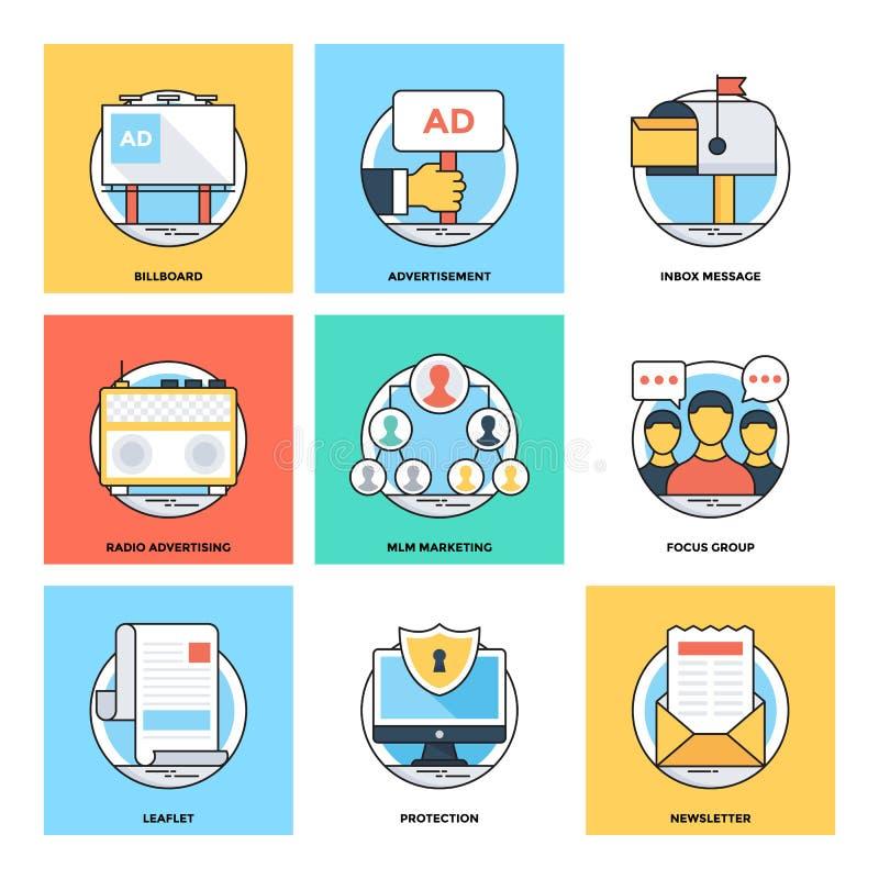 Linha de cor lisa ícones 19 do vetor dos conceitos de projeto ilustração stock