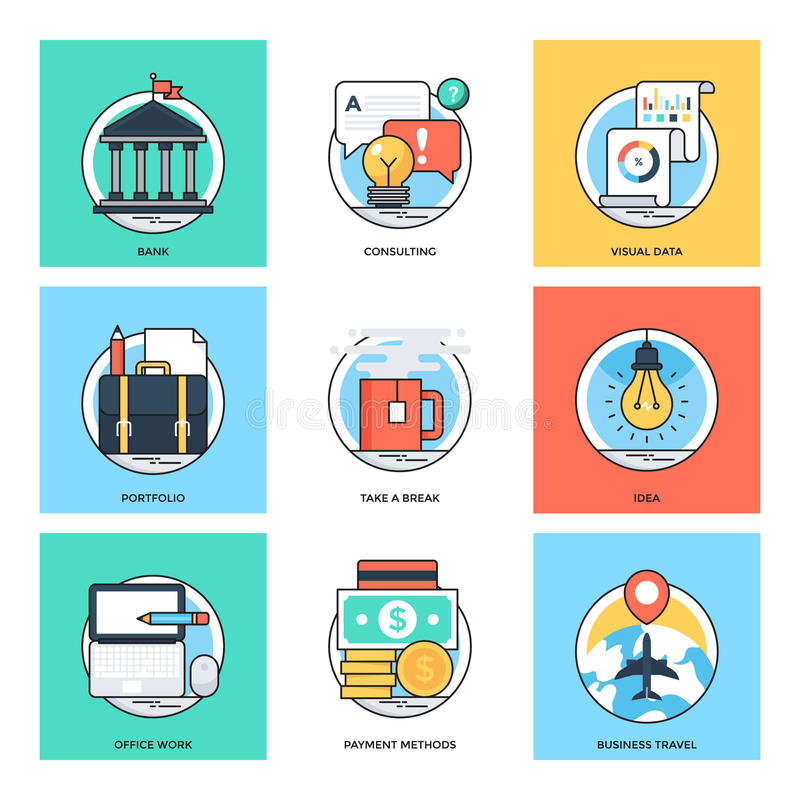 Linha de cor lisa ícones 37 do vetor dos conceitos de projeto ilustração royalty free