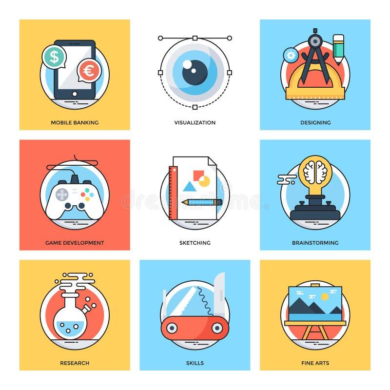 Linha de cor lisa ícones 22 do vetor dos conceitos de projeto ilustração stock