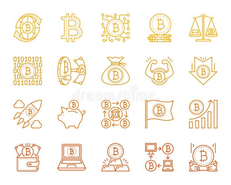 Linha de cor simples grupo de Bitcoin do vetor dos ícones ilustração royalty free