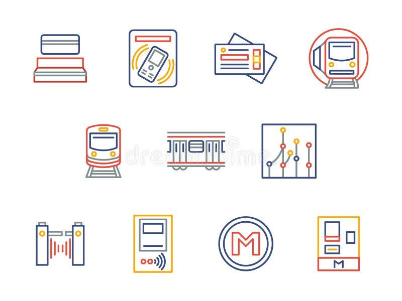 Linha de cor subterrânea ícones do transporte da cidade ilustração royalty free