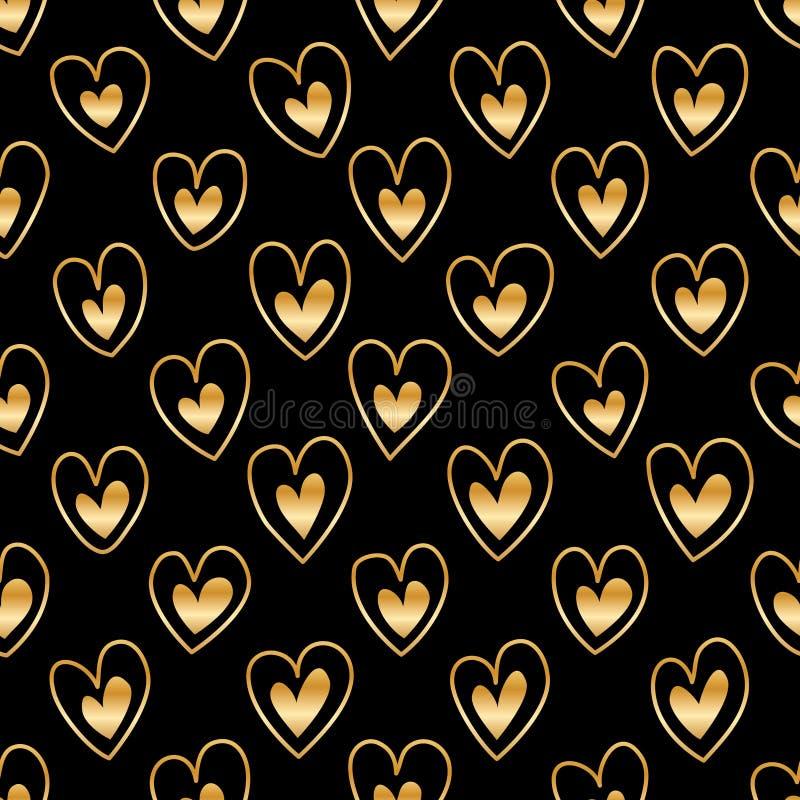 Linha de coração do amor dentro do teste padrão sem emenda ilustração do vetor