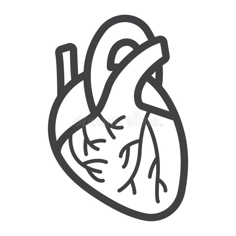 Linha de coração humana ícone, medicina e cuidados médicos ilustração stock
