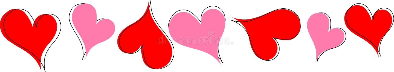 Linha de coração vermelha e cor-de-rosa com linhas exteriores do coração fotografia de stock royalty free