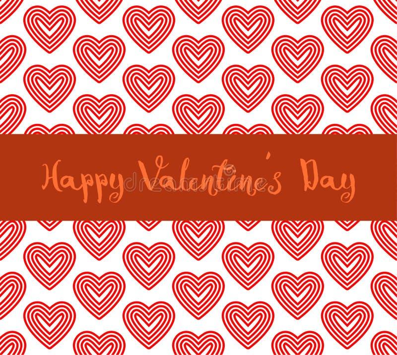 Linha de coração vermelha fundo do dia de são valentim feliz do teste padrão imagem de stock