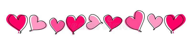 Linha de corações/divisor ilustração royalty free