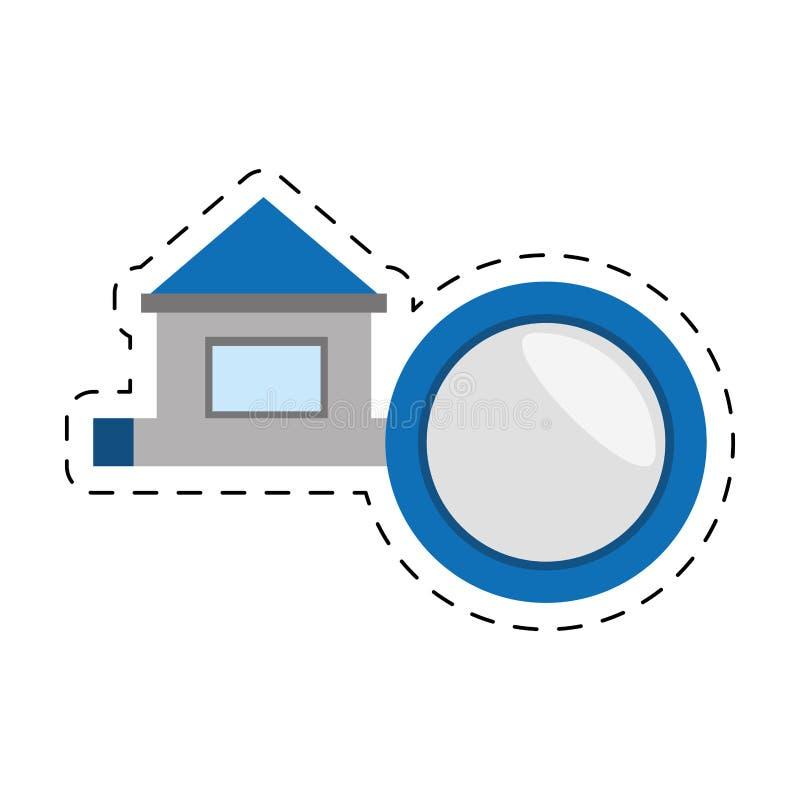 linha de corte da estrada do sinal da casa dos bens imobiliários ilustração do vetor