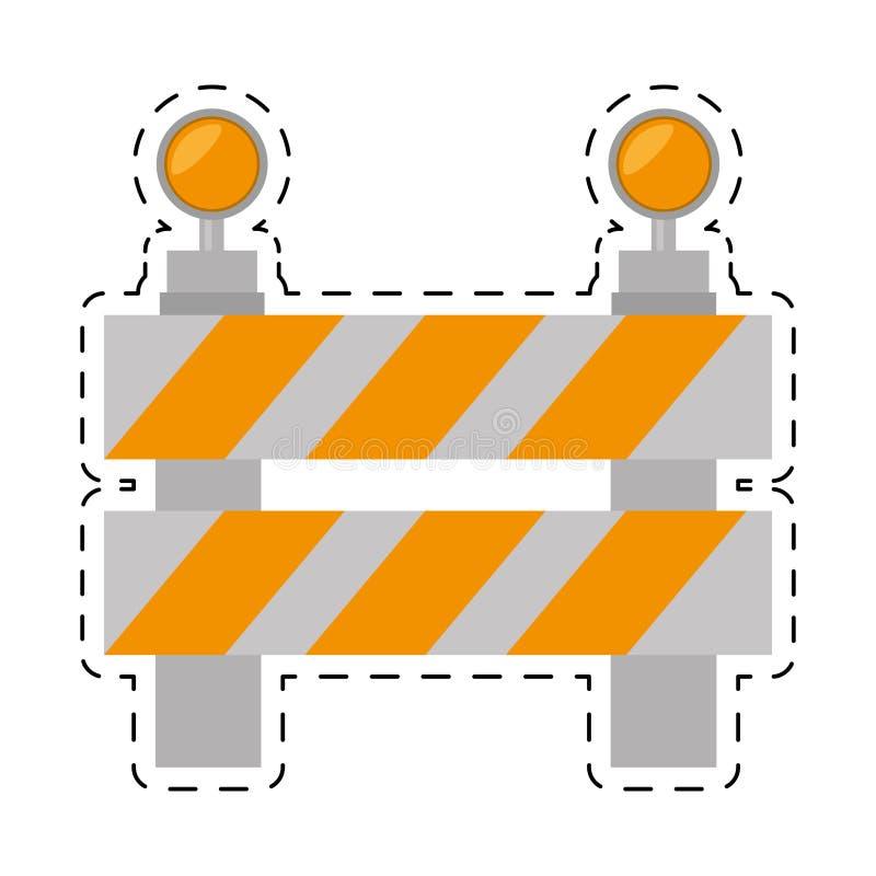 linha de corte da luz de advertência da parada da barreira da estrada ilustração royalty free