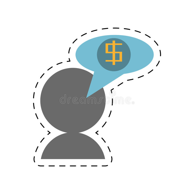 linha de corte do discurso da bolha do dólar do negócio do avatar ilustração royalty free