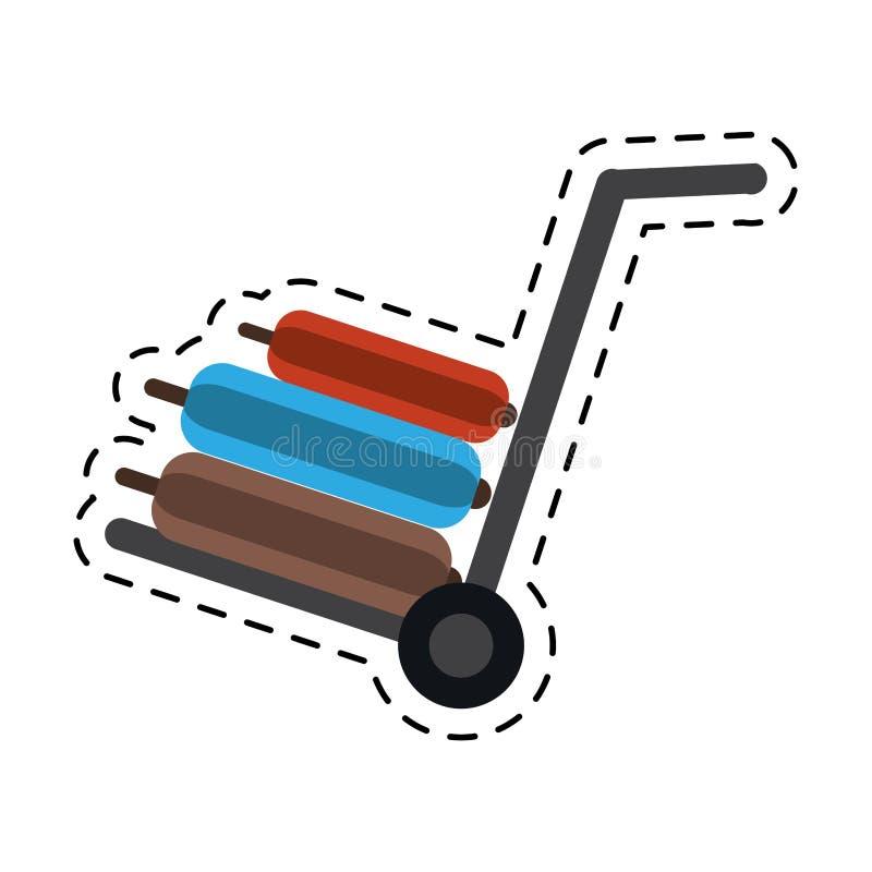 Linha de corte do equipamento do curso da bagagem das malas de viagem do carro da mão ilustração do vetor