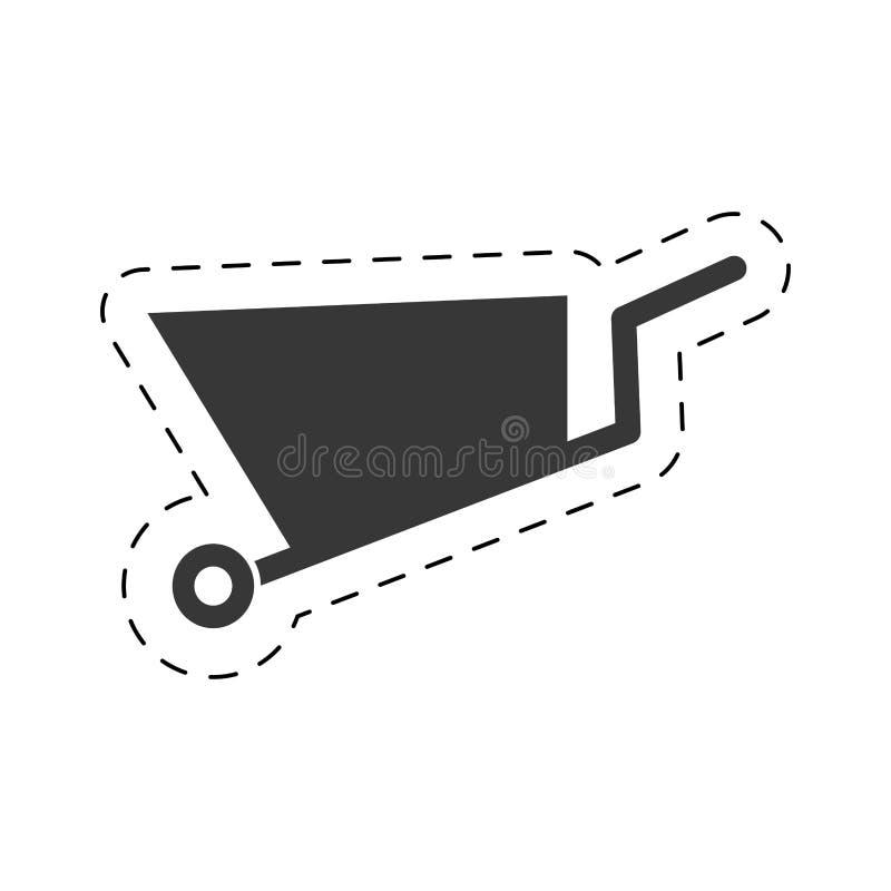linha de corte do pictograma do equipamento da mina do carrinho de mão ilustração stock