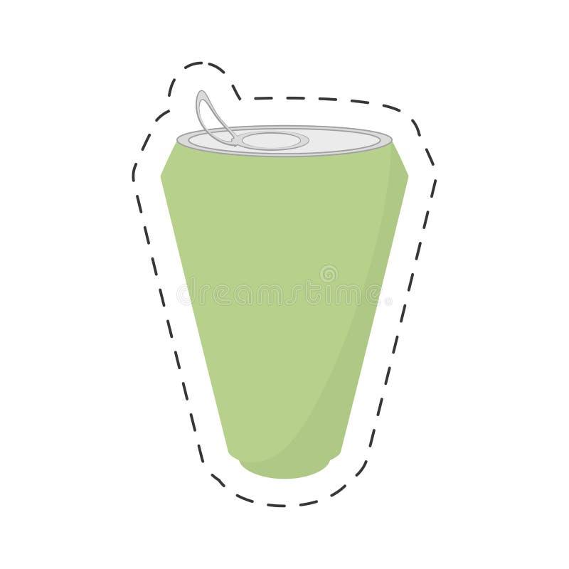 linha de corte verde da bebida da lata de soda ilustração stock