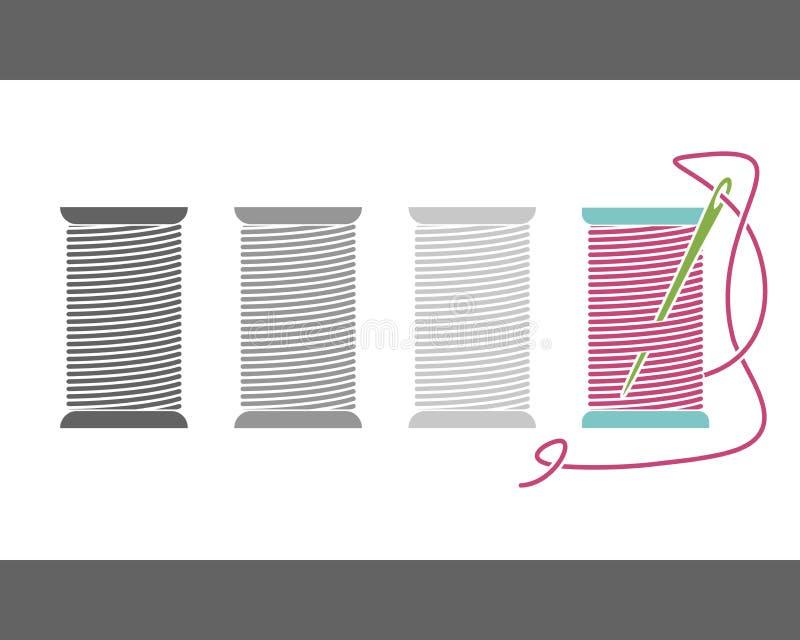 Linha de costura do ícone em carretéis Bobina isolada vetor Silhueta ilustração do vetor