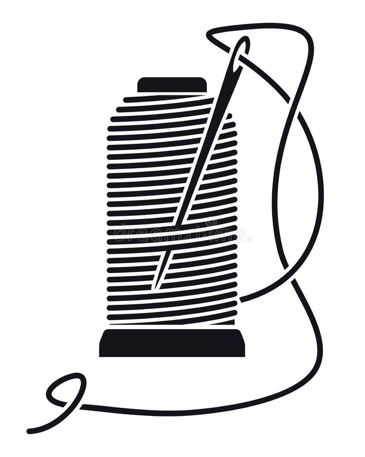 Linha de costura do ícone em carretéis Bobina isolada vetor Silhueta ilustração royalty free