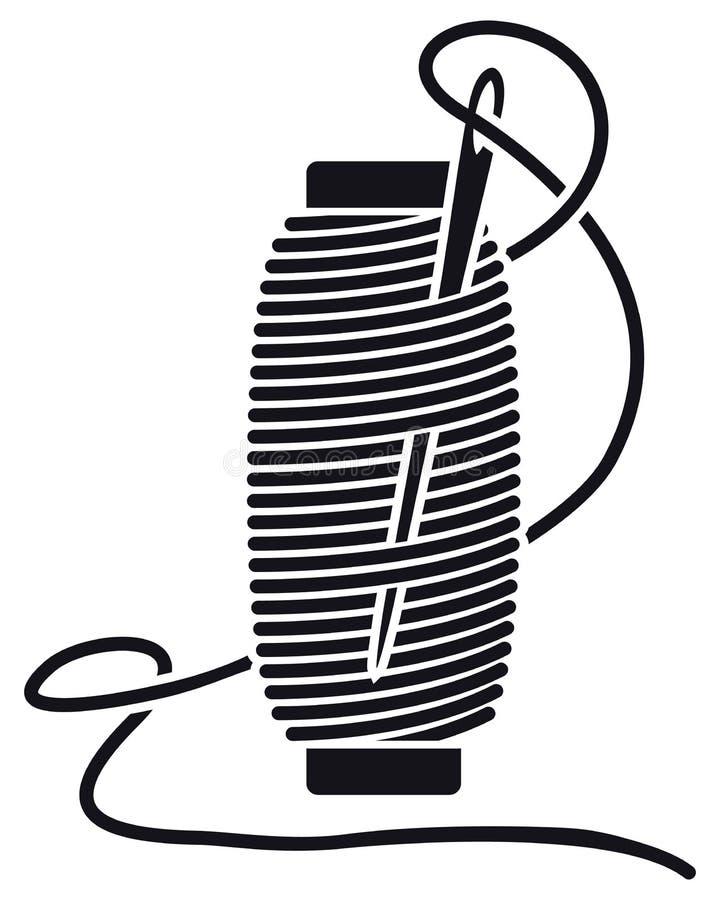 Linha de costura do ícone em carretéis Bobina isolada vetor Silhueta ilustração stock