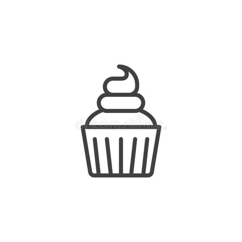 Linha de creme ícone do queque ilustração royalty free