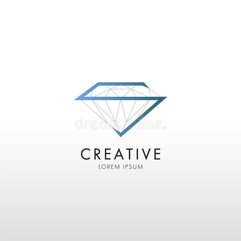 Linha de cristal logotipo do projeto liso na moda ilustração royalty free