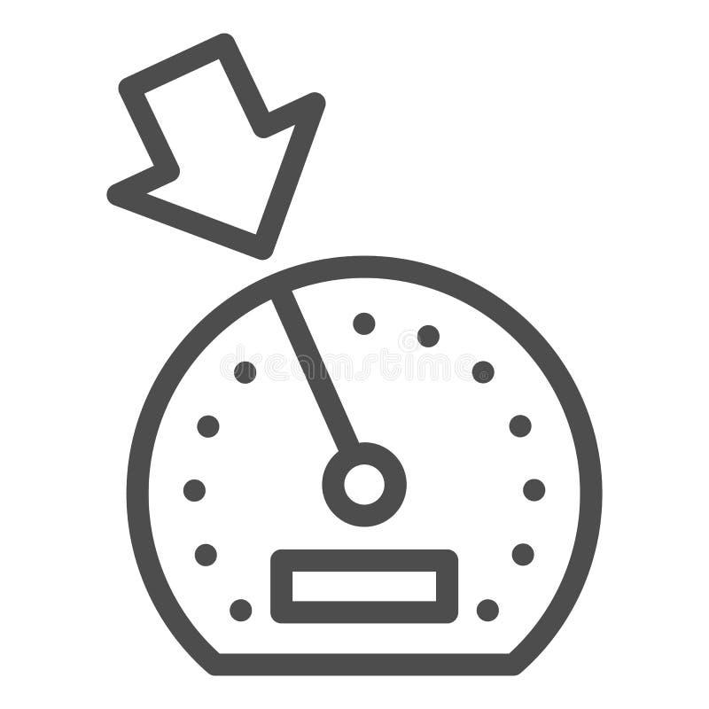 Linha de cruise control ícone Ilustração do vetor do painel isolada no branco Projeto do estilo do esboço do velocímetro, projeta ilustração stock