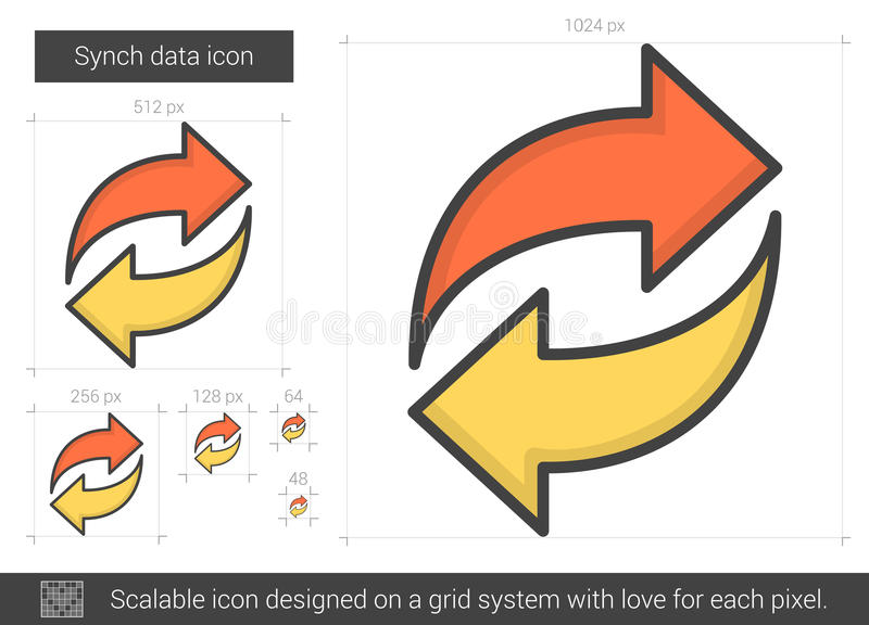 Linha de dados ícone de Synch ilustração stock