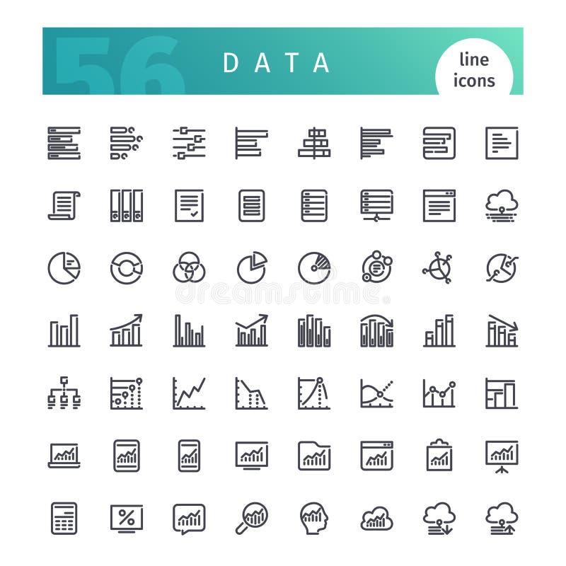 Linha de dados ícones ajustados ilustração royalty free